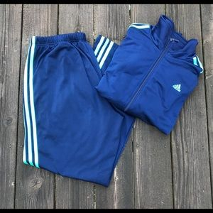 Adidas Two Piece Track Suit - XL Navy & Teal Green